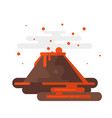volcano eruption with smoke and lava vector image