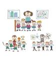 Childrens study doodle sketch Kids sports team vector image