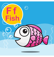 F Fish color cartoon and alphabet for children to vector image