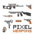 pixel art game style weapons and guns isolated on vector image