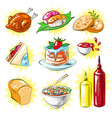 pop art comic style food patches set vector image