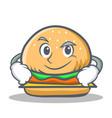 Smirking burger character fast food vector image