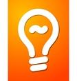 White cut lightbulb symbol on orange background vector image