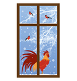 new year window with rooster vector image