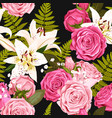 seamless pattern with lilies and roses vector image