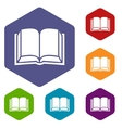 Book rhombus icons vector image