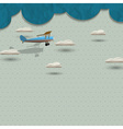 Airplane and clouds from paper vector image