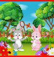 cartoon rabbit couples with butterfly vector image