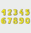 Hand drawn yellow numbers isolated on grey vector image