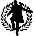 silhouette of dancing politician and laurel wreath vector image