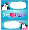 Valentines card with cute cartoon penguine vector image