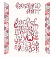 Hand-drawn black red and white capital letters vector image