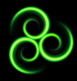 three an abstract green swirls on black vector image