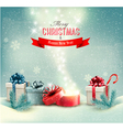 Christmas winter background with presents and open vector image vector image