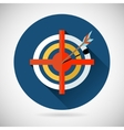 Achieving Goal Symbol Arrow Hit the Target Icon on vector image