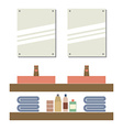 His And Her Sink With Mirrors vector image