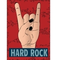 Rock hand gesture on red background vector image