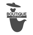 boutique fashion logotype with dress and hat on vector image