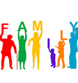 Family concept with colored silhouettes of vector image
