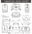 Vintage logotypes elements setDoodle hand sketchy vector image