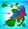 exotic bird sitting on a branch with leaves vector image