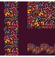 Set of painted plants seamless pattern and borders vector image vector image