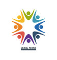 colorful teamwork with hands up social people vector image