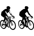 bicyclist sketch and silhouette vector image