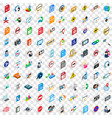 100 social icons set isometric 3d style vector image