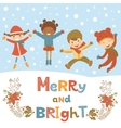 Cute Christmas kids vector image