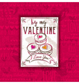 Red background with valentine heart cookies vector image