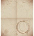 Aged dirty paper with coffee cup trace vector image