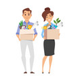 business woman and businessman holding box vector image
