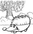 hedgehog cartoon for coloring book vector image