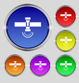 satellite icon sign Round symbol on bright vector image