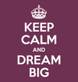 keep calm and dream big poster quote vector image