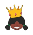 Happy little african princess head in crown vector image