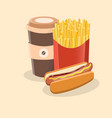 hot dog with french fries and coffee to go - cute vector image