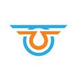 letter u wing company logo vector image