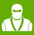 ninja in black mask icon green vector image