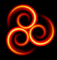 three an abstract red swirls on black vector image
