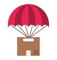 box carton flying parachute silhouette icon vector image