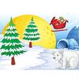 igloo polar bear and moon vector image vector image