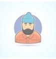 Lumberjack man with beard hipster woodman icon vector image