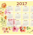 Calendar 2017 year with flowers vector image