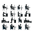 bad and good working position vector image