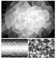 black and white low poly backgrounds set vector image