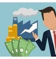 man factory money growth arrow business vector image