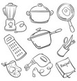 doodle of kitchen set collection vector image
