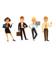 business people group of four isolated on white vector image